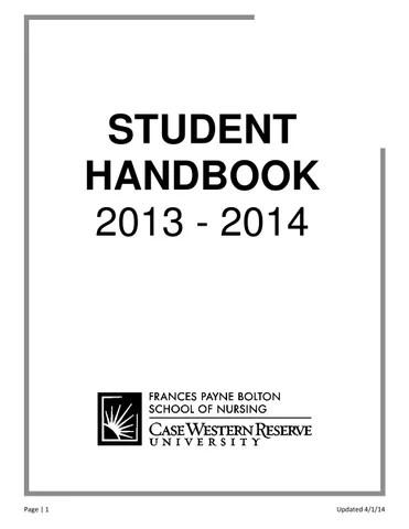 2013-2014 Student Handbook by Frances Payne Bolton School