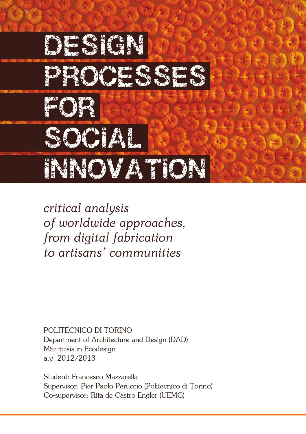 F mazzarella Design processes for social innovation by