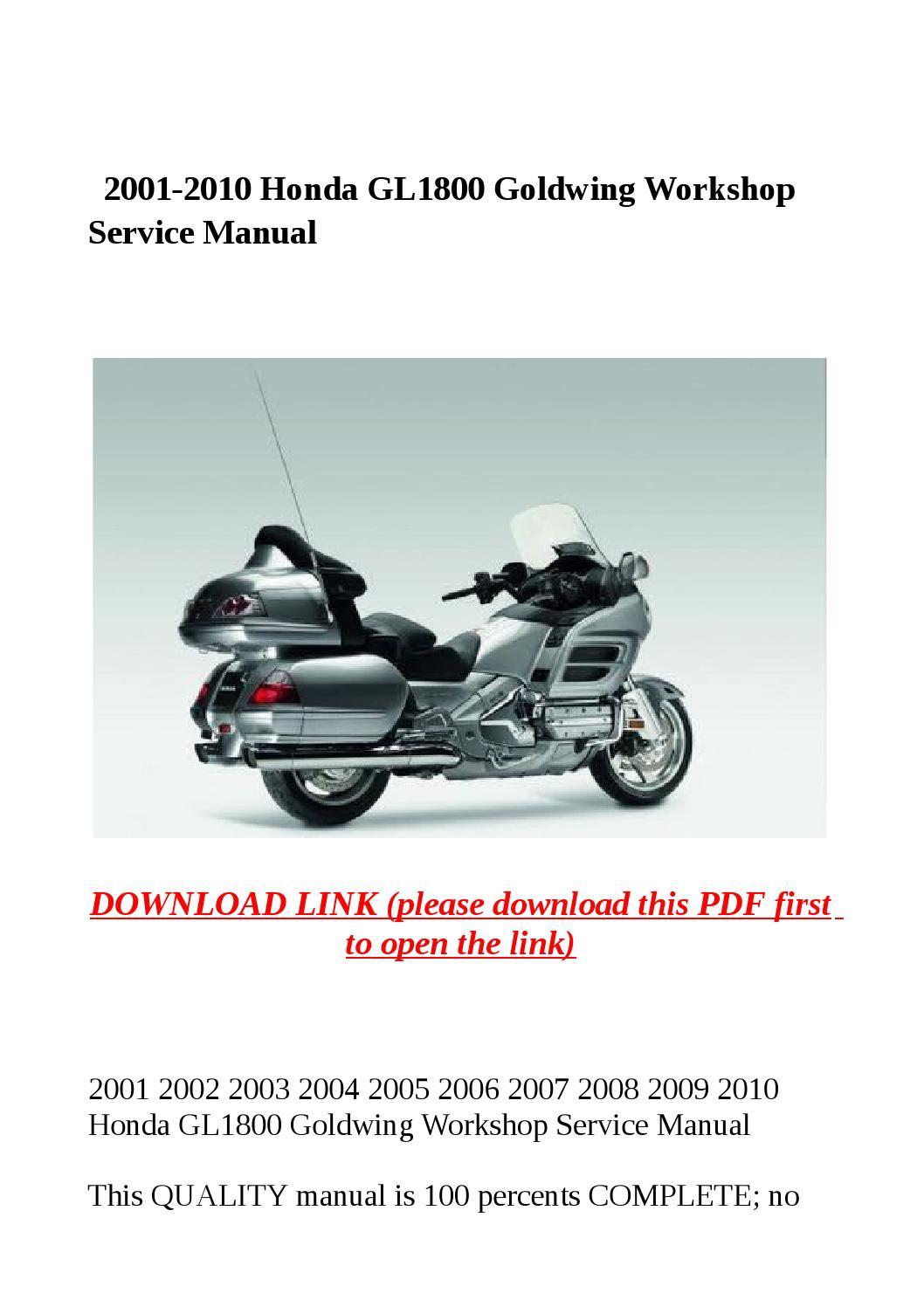 2008 Honda Goldwing Wiring Diagram 2001 2010 Honda Gl1800 Goldwing Workshop Service Manual By