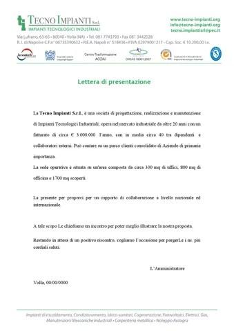 Lettera Di Presentazione Tecnoipianti By Informratica Team