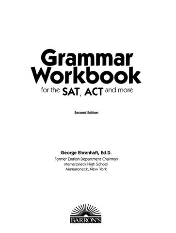 Preview grammar workbook for the sat and act by