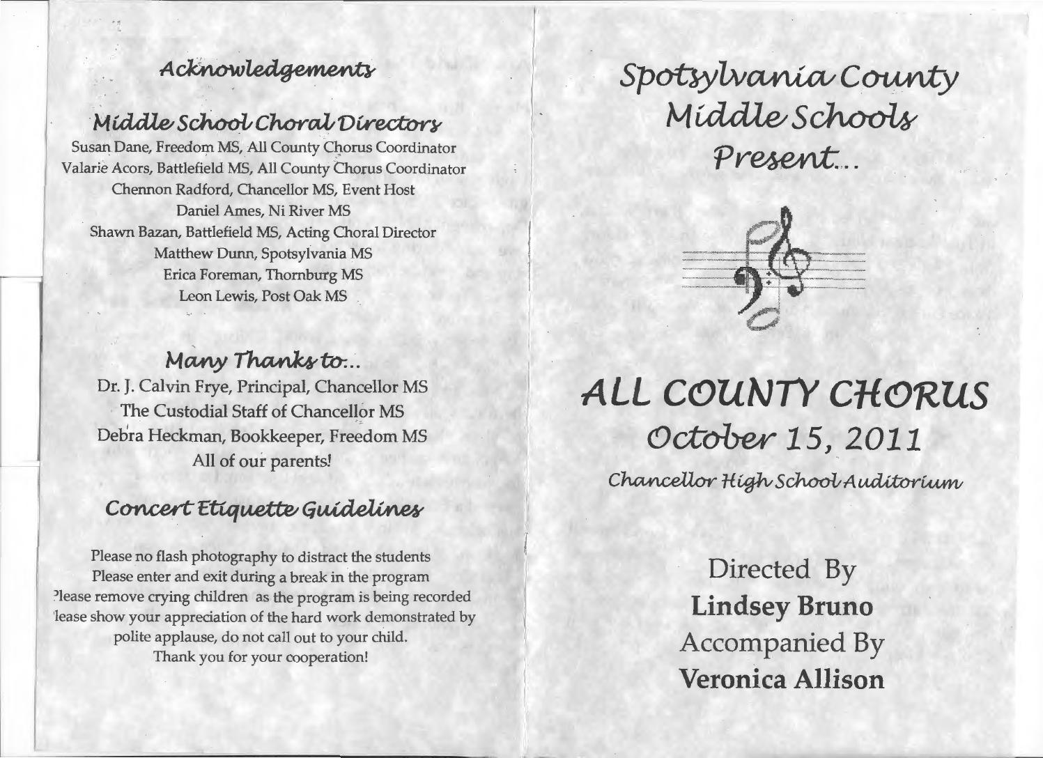 Spotsylvania all county choir program page 1 by Lindsey