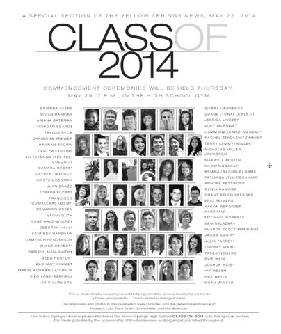 2014 Yellow Springs High School Senior Supplement by