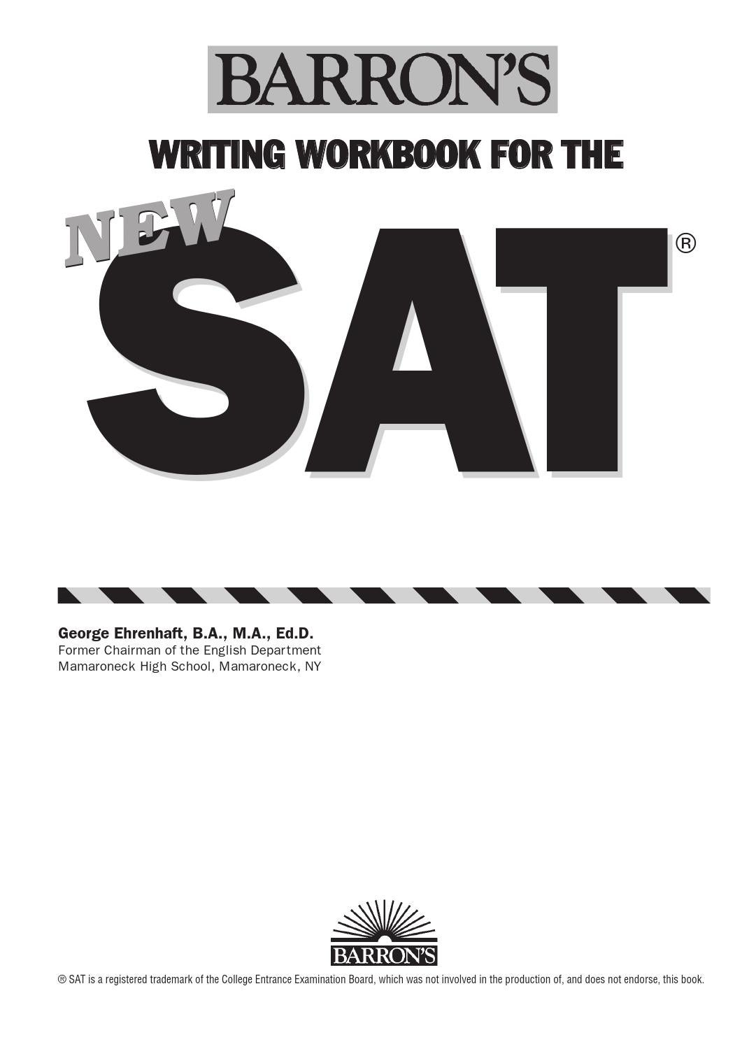 Preview barron's writing workbook for the new sat by
