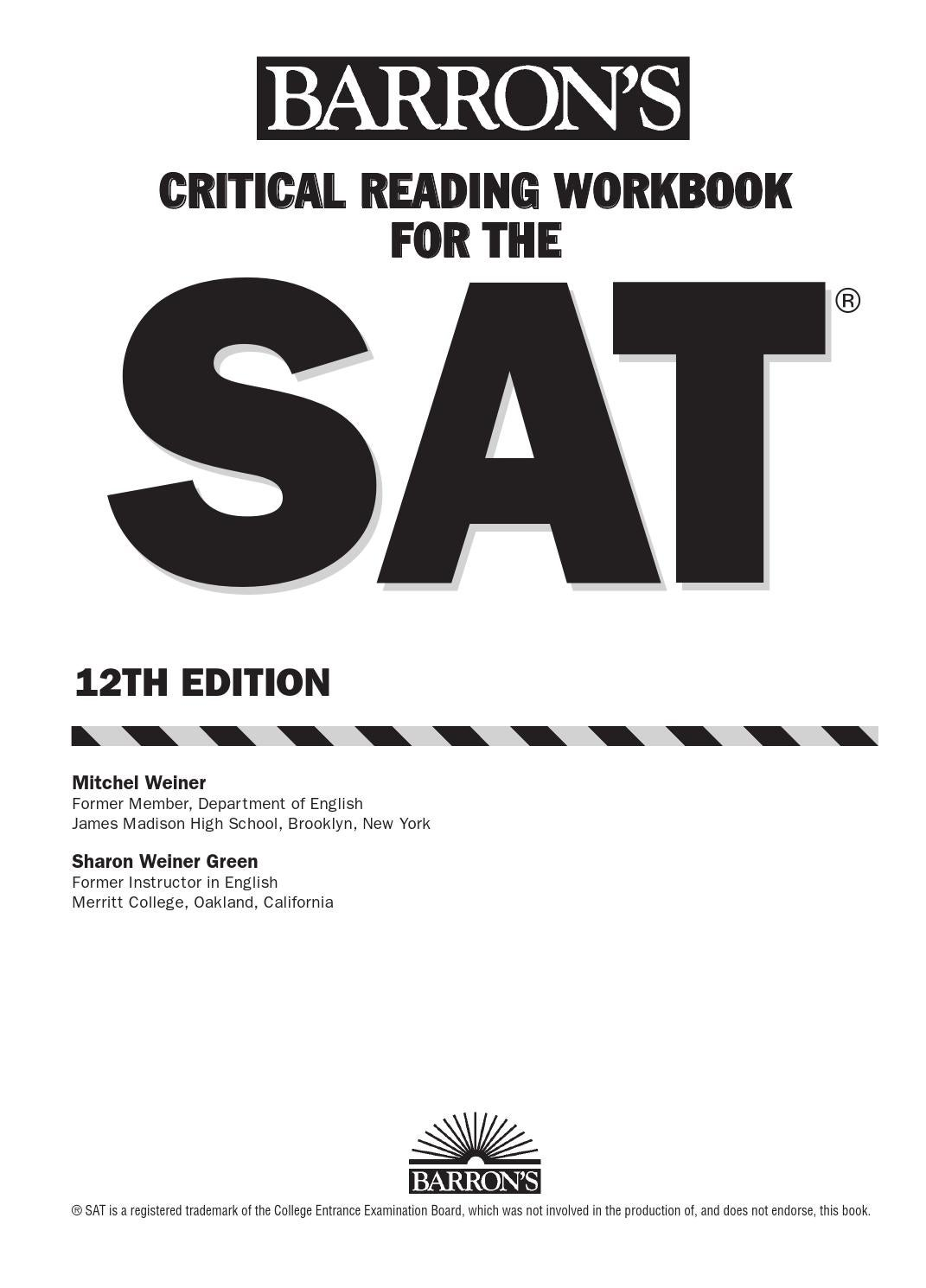 Preview barron's critical reading workbook for the new sat