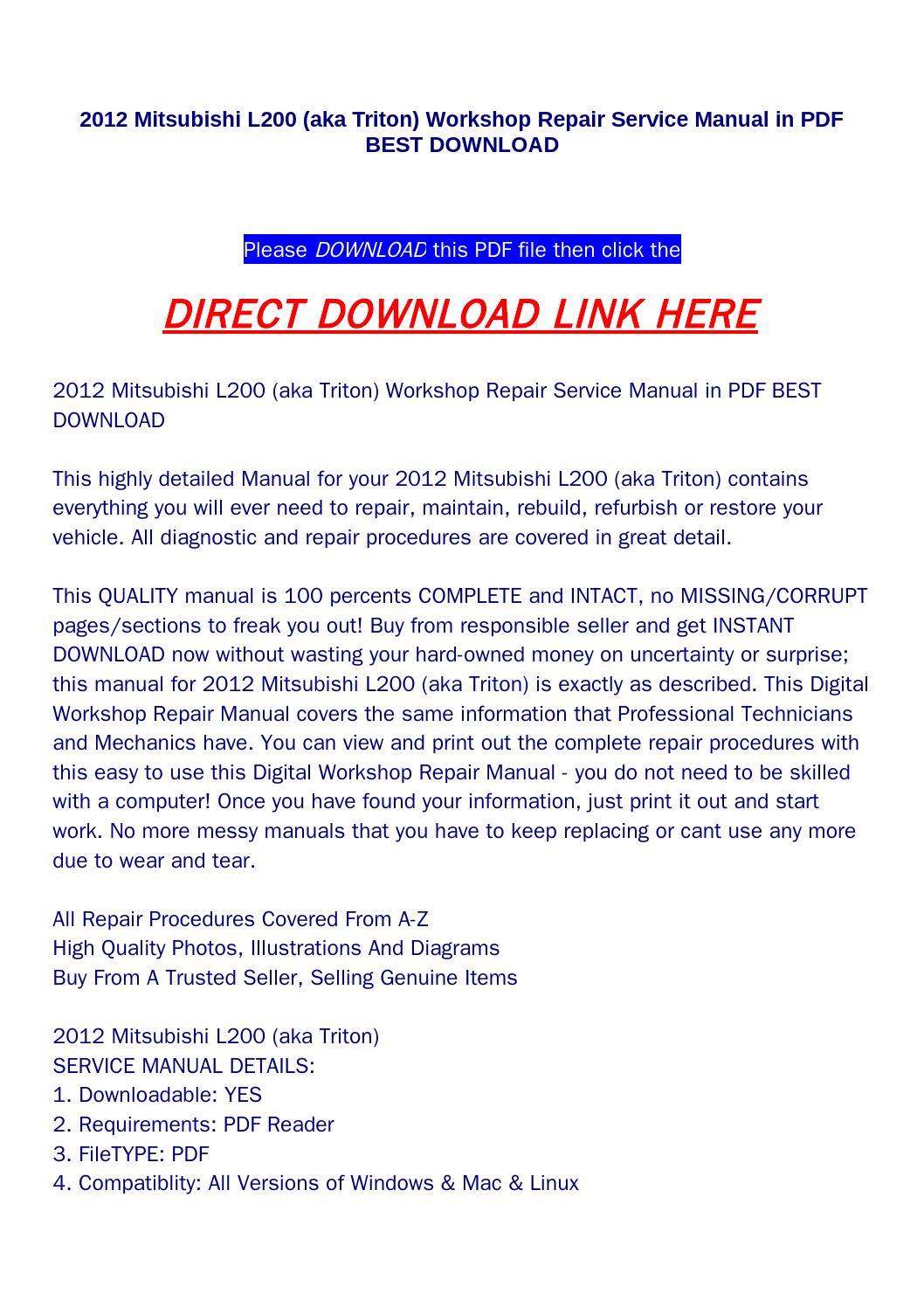 mitsubishi triton wiring diagram wiper motor 2012 l200 aka workshop repair service