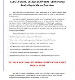 kubota gf1800 gf1800e lawn tractor service repair manual pdf download by sparchita3 issuu [ 1156 x 1496 Pixel ]