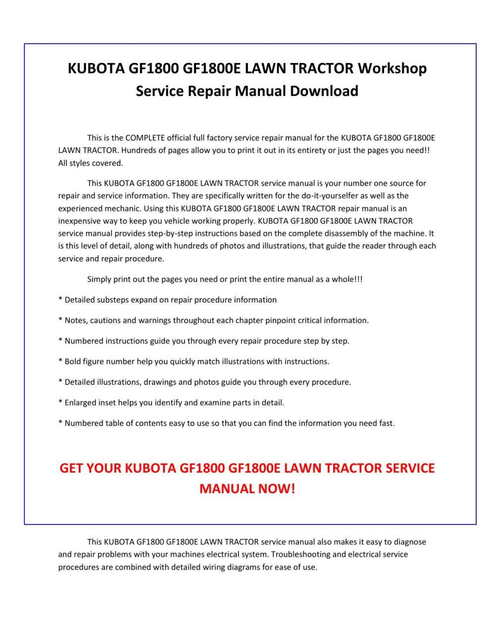 medium resolution of kubota gf1800 gf1800e lawn tractor service repair manual pdf download by sparchita3 issuu