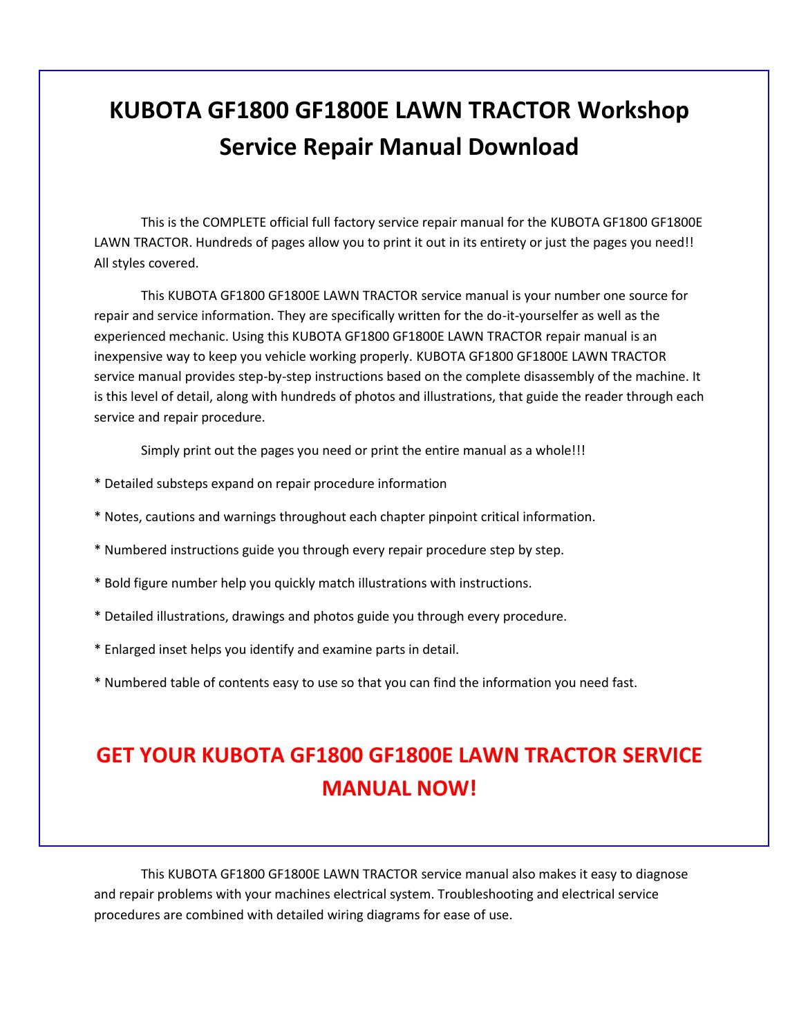 hight resolution of kubota gf1800 gf1800e lawn tractor service repair manual pdf download by sparchita3 issuu