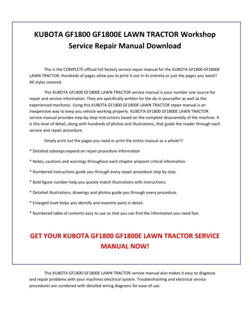 small resolution of kubota gf1800 gf1800e lawn tractor service repair manual pdf download by sparchita3 issuu