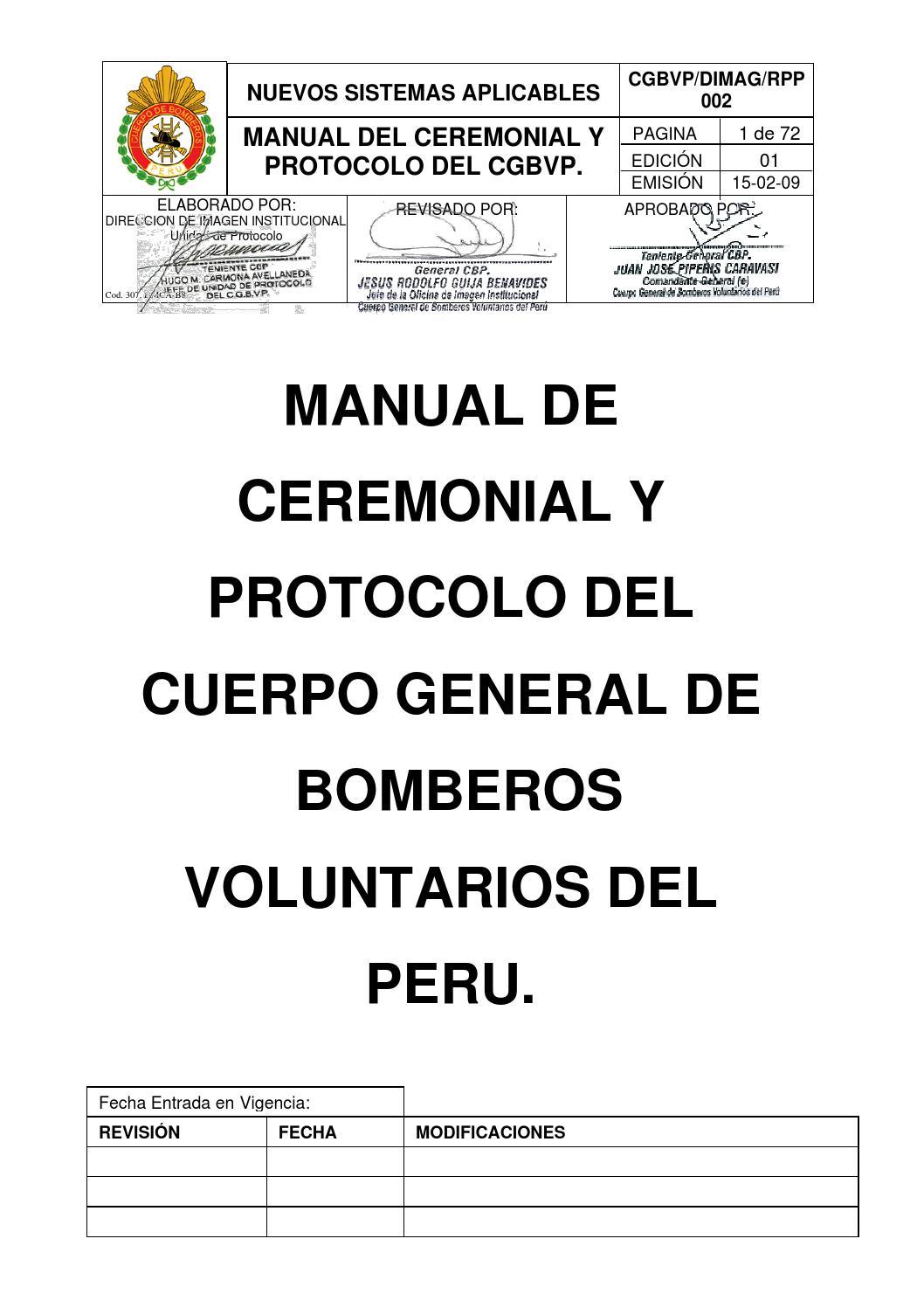 Manual de ceremonial y protocolo by Ivcomandancia