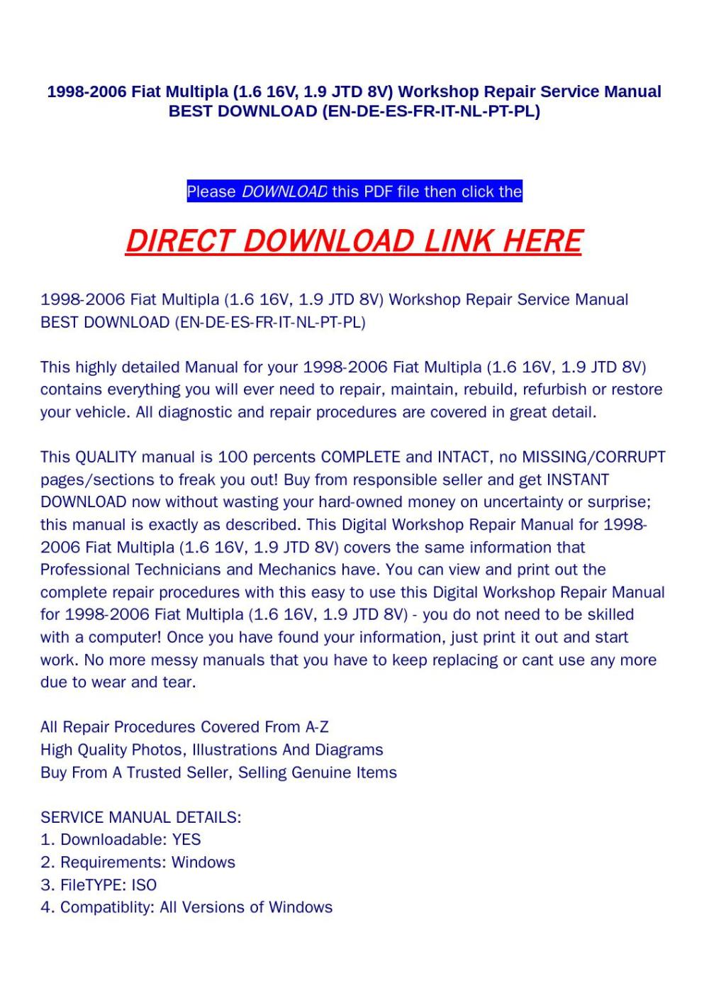 medium resolution of 1998 2006 fiat multipla 1 6 16v 1 9 jtd 8v workshop repair