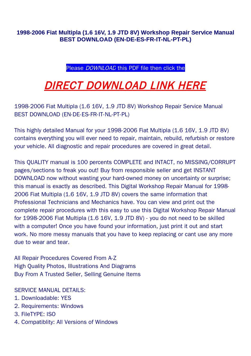 hight resolution of 1998 2006 fiat multipla 1 6 16v 1 9 jtd 8v workshop repair