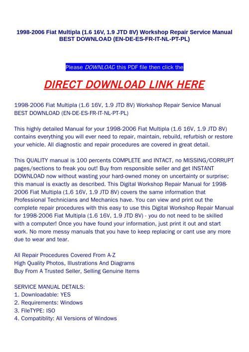 small resolution of 1998 2006 fiat multipla 1 6 16v 1 9 jtd 8v workshop repair
