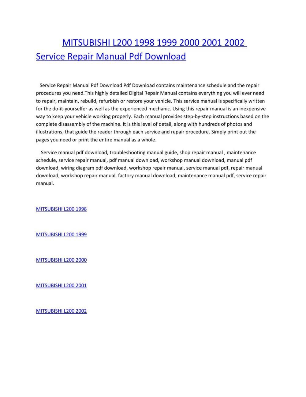 medium resolution of mitsubishi l200 1998 1999 2000 2001 2002 service repair manual pdf download by amurgului issuu