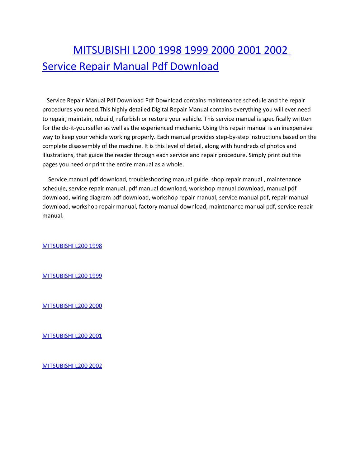 hight resolution of mitsubishi l200 1998 1999 2000 2001 2002 service repair manual pdf download by amurgului issuu
