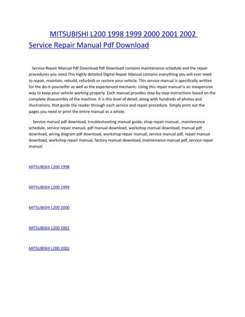 small resolution of mitsubishi l200 1998 1999 2000 2001 2002 service repair manual pdf download by amurgului issuu