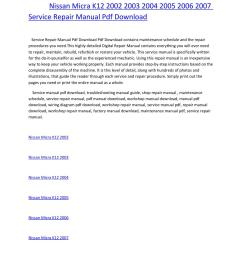 nissan micra k12 2002 2003 2004 2005 2006 2007 service repair manual pdf download by amurgului issuu [ 1156 x 1496 Pixel ]