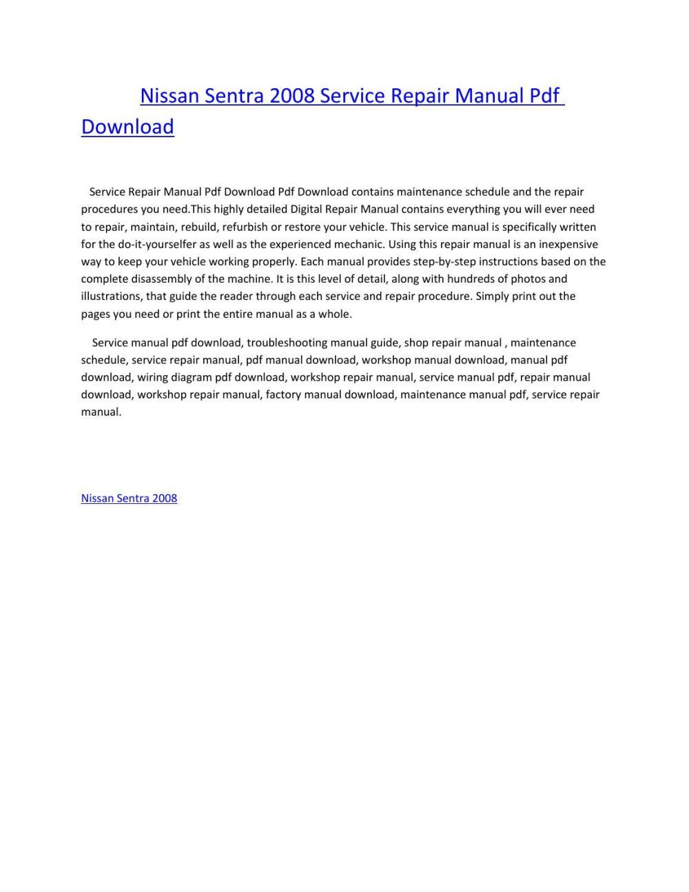 medium resolution of nissan sentra 2008 service repair manual pdf download by amurgului issuu