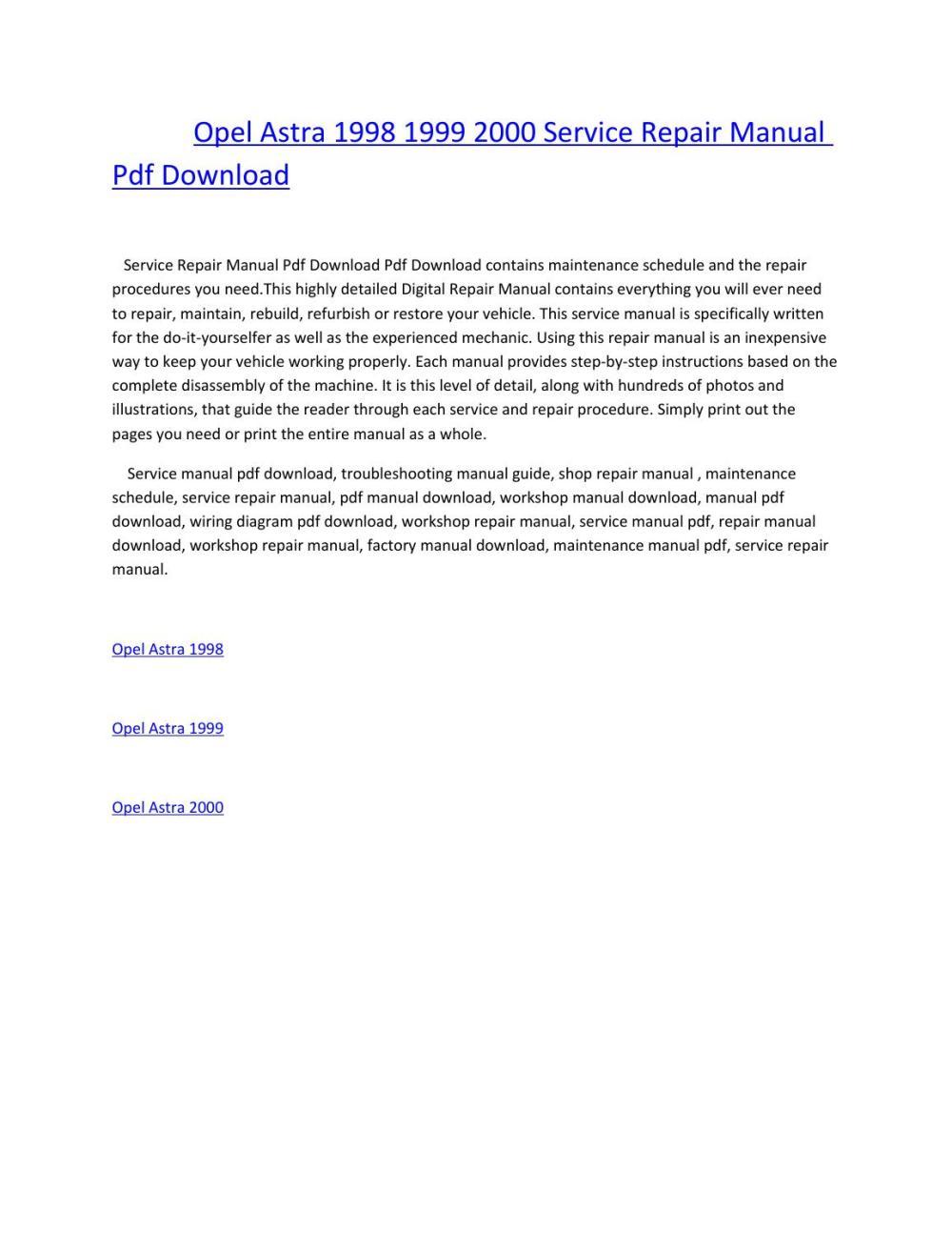 medium resolution of vauxhall opel astra g workshop service repair manual download 1998