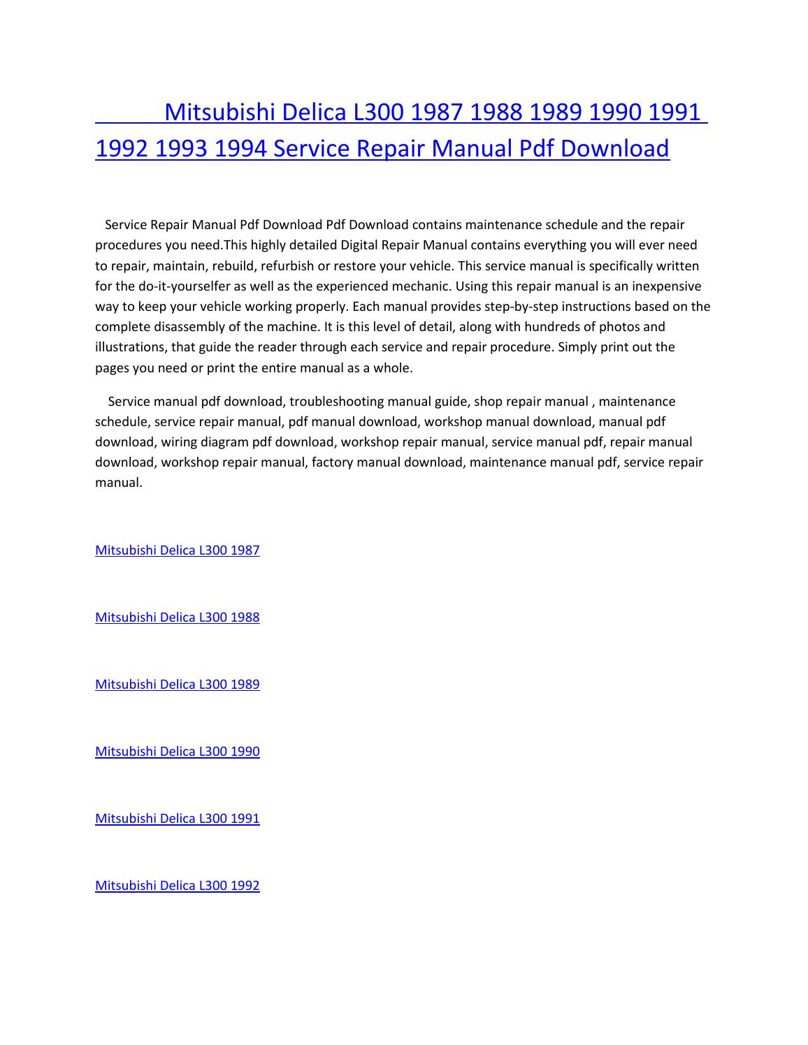 hight resolution of mitsubishi delica l300 1987 1988 1989 1990 1991 1992 1993 1994 service repair manual pdf download by amurgului issuu