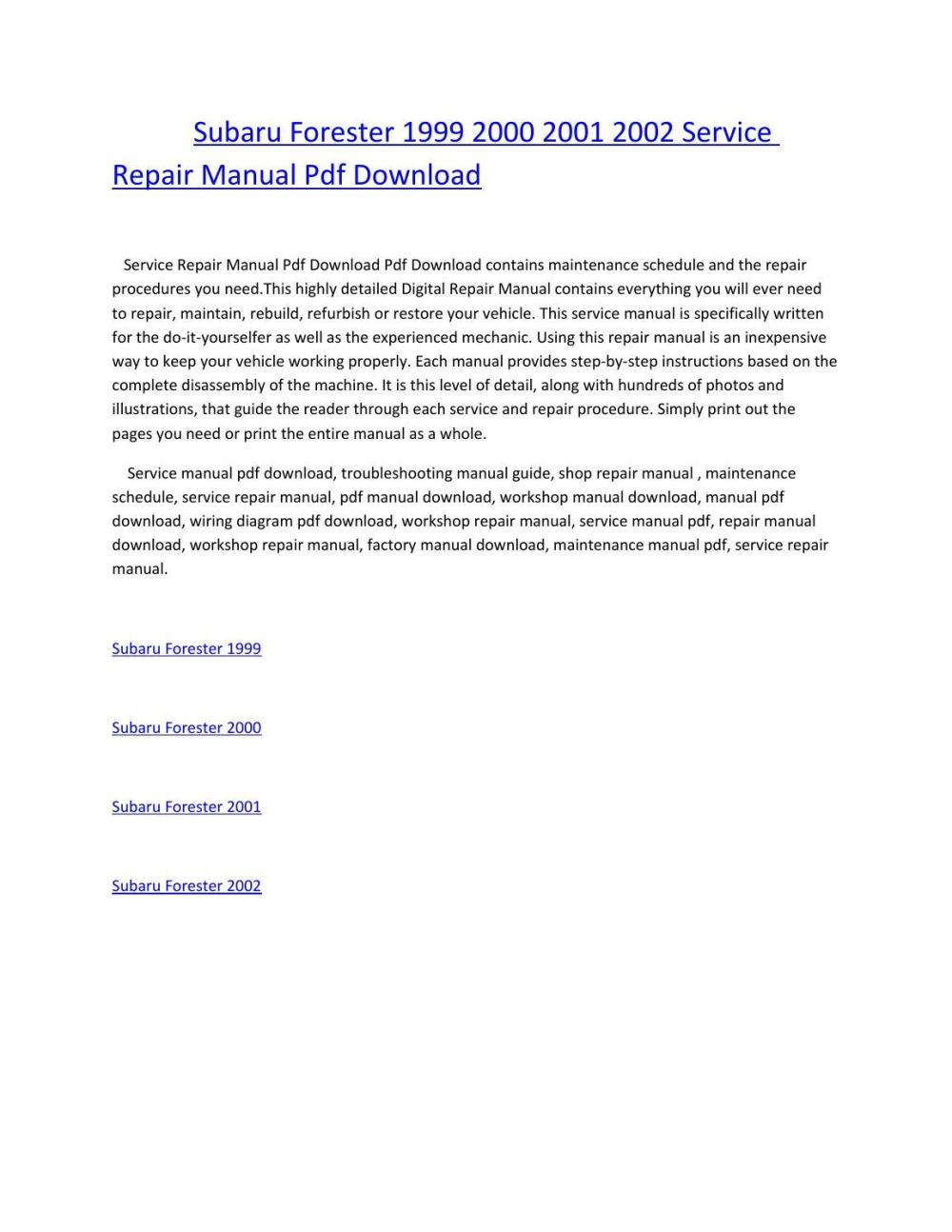 medium resolution of subaru forester wiring diagram pdf