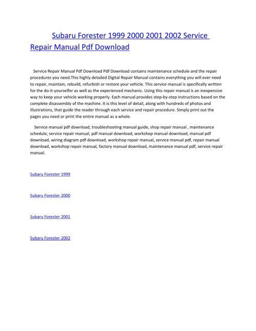 small resolution of subaru forester wiring diagram pdf