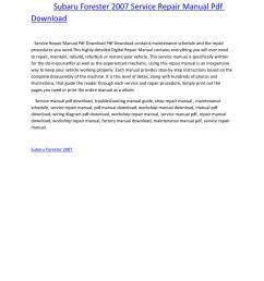 subaru forester 2007 service repair manual pdf download by amurgului issuu [ 1156 x 1496 Pixel ]
