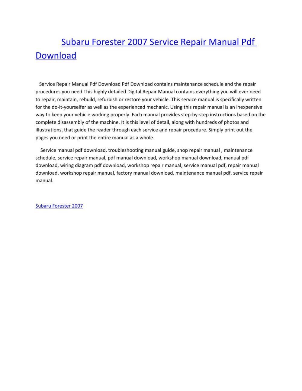medium resolution of subaru forester 2007 service repair manual pdf download by amurgului issuu