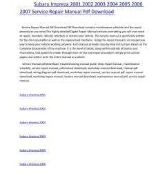 subaru impreza 2001 2002 2003 2004 2005 2006 2007 service repair manual pdf download by amurgului issuu [ 1156 x 1496 Pixel ]