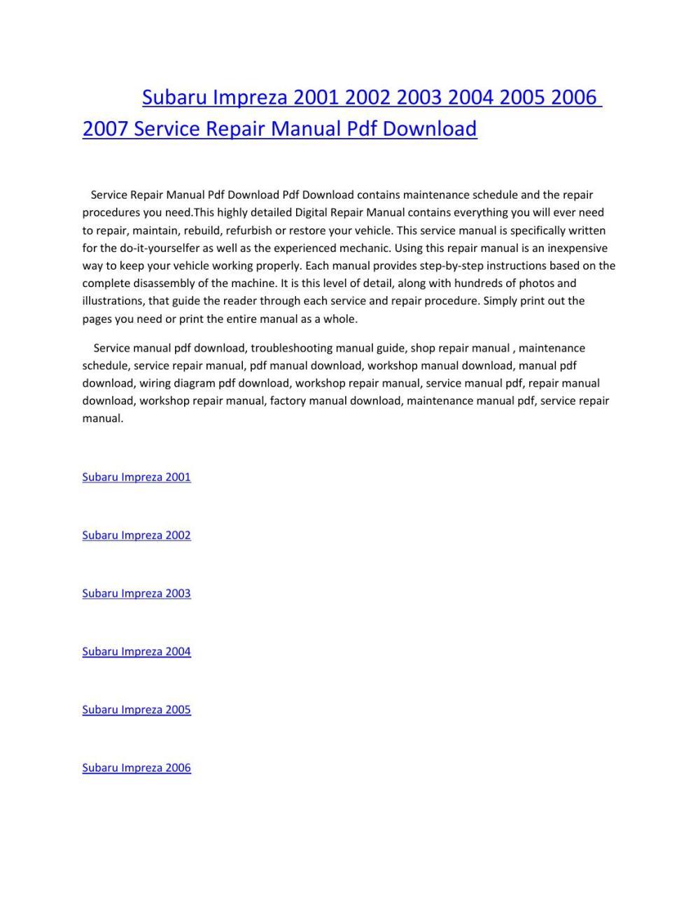 medium resolution of subaru impreza 2001 2002 2003 2004 2005 2006 2007 service repair manual pdf download by amurgului issuu