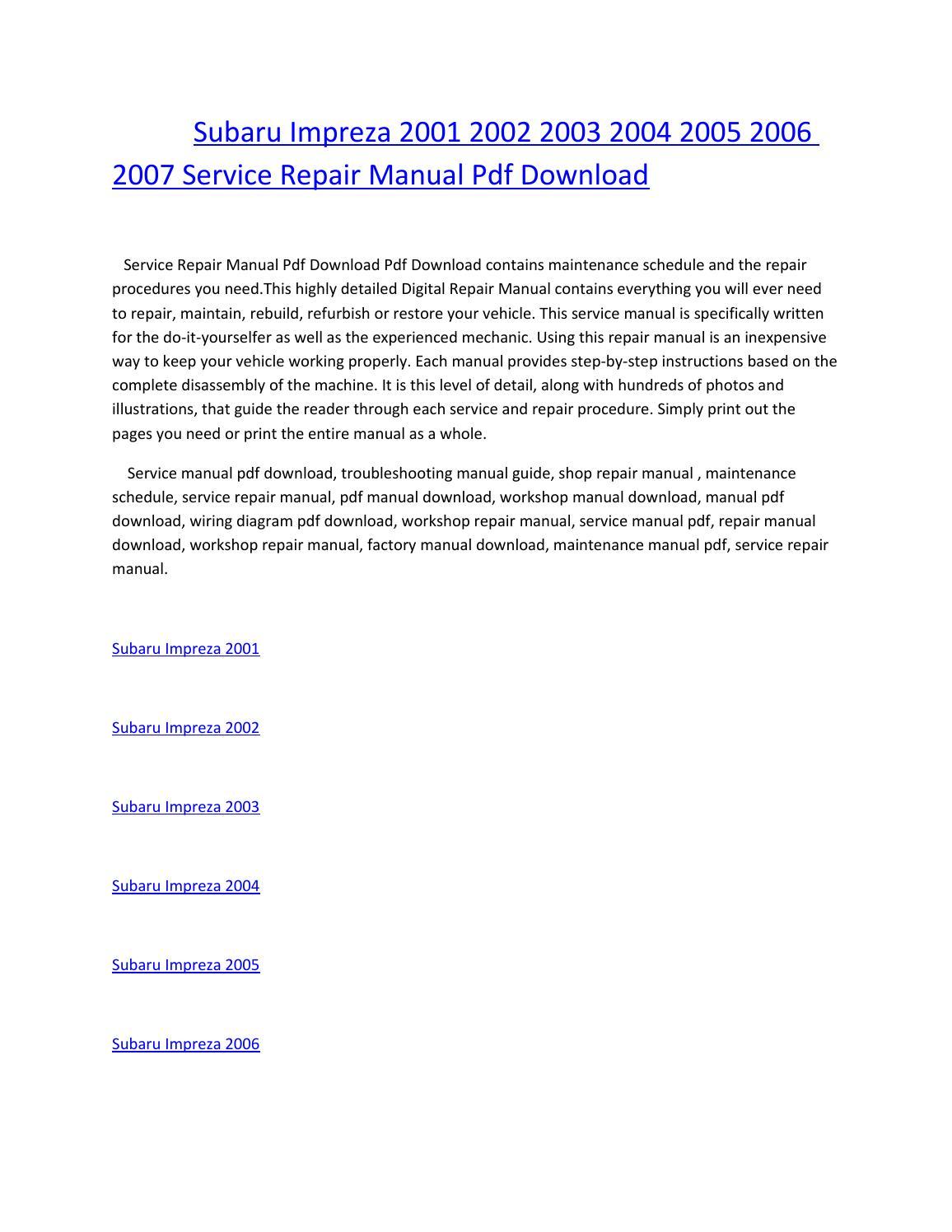 hight resolution of subaru impreza 2001 2002 2003 2004 2005 2006 2007 service repair manual pdf download by amurgului issuu