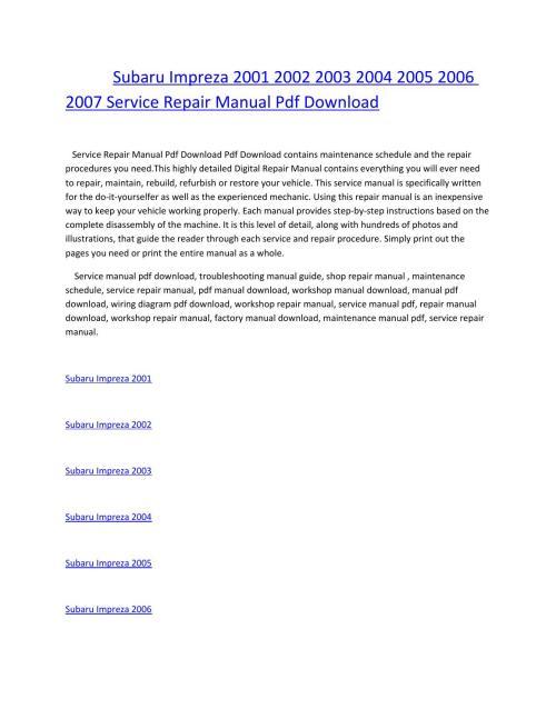small resolution of subaru impreza 2001 2002 2003 2004 2005 2006 2007 service repair manual pdf download by amurgului issuu
