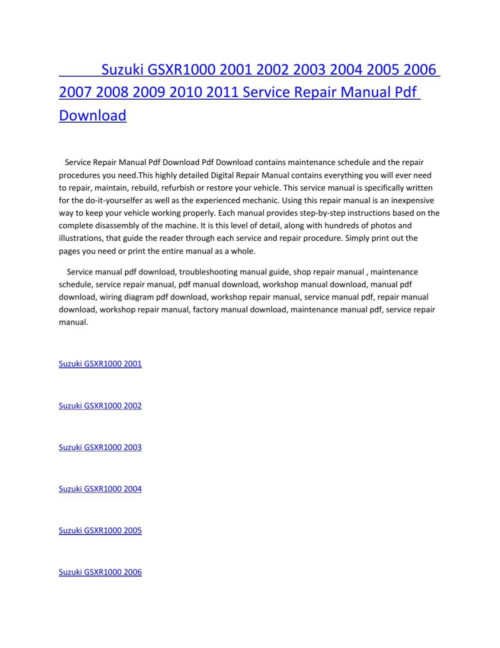 medium resolution of suzuki gsxr1000 2001 2002 2003 2004 2005 2006 2007 2008 2009 2010 2011 service repair manual pdf dow by amurgului issuu