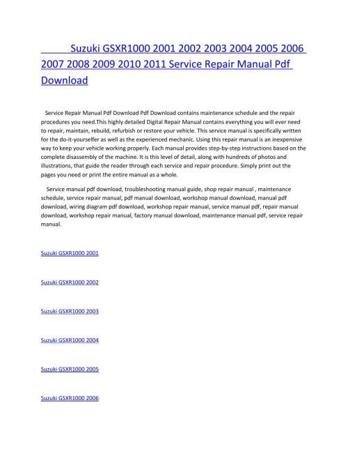 small resolution of suzuki gsxr1000 2001 2002 2003 2004 2005 2006 2007 2008 2009 2010 2011 service repair manual pdf dow by amurgului issuu