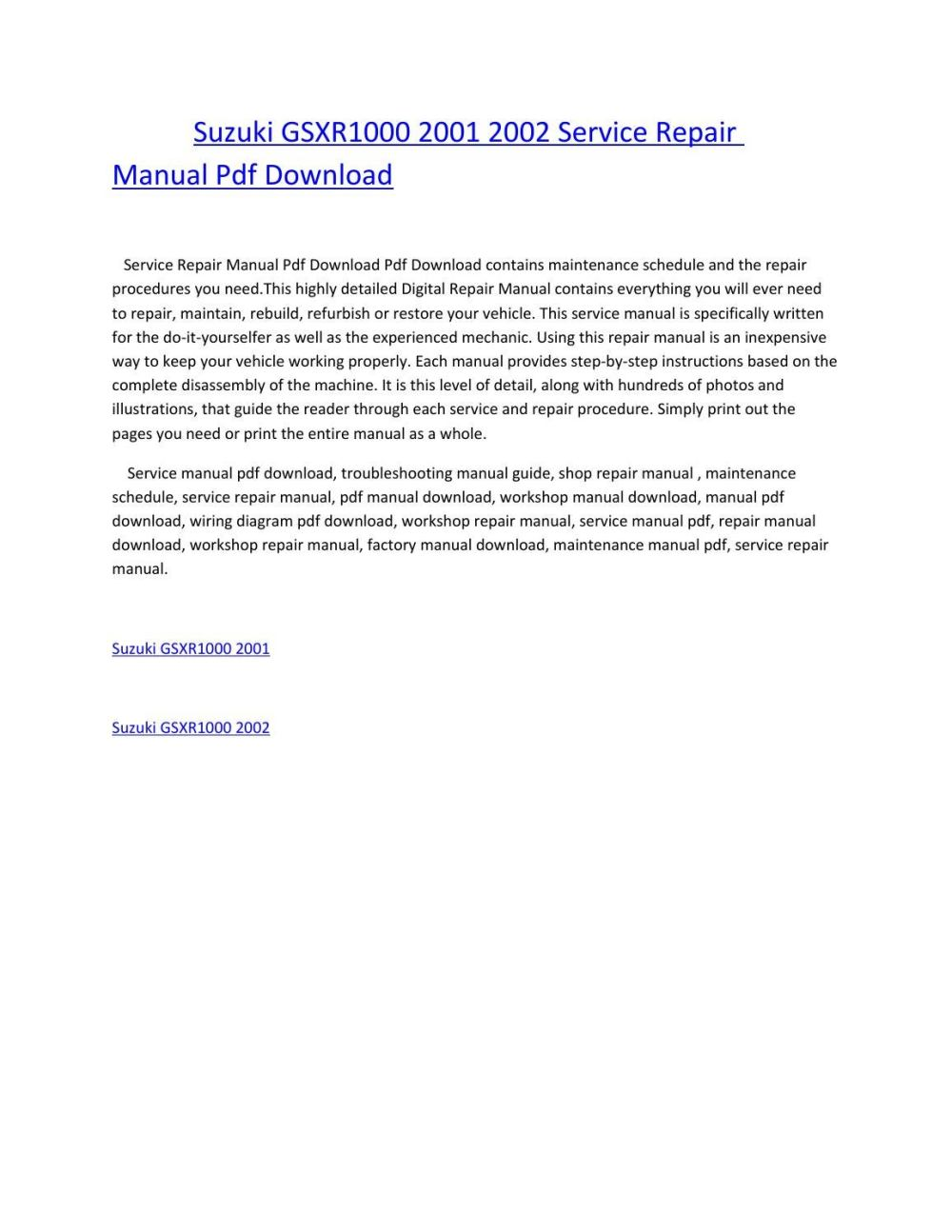 medium resolution of suzuki gsxr1000 2001 2002 service repair manual pdf download by amurgului issuu