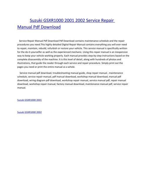 small resolution of suzuki gsxr1000 2001 2002 service repair manual pdf download by amurgului issuu