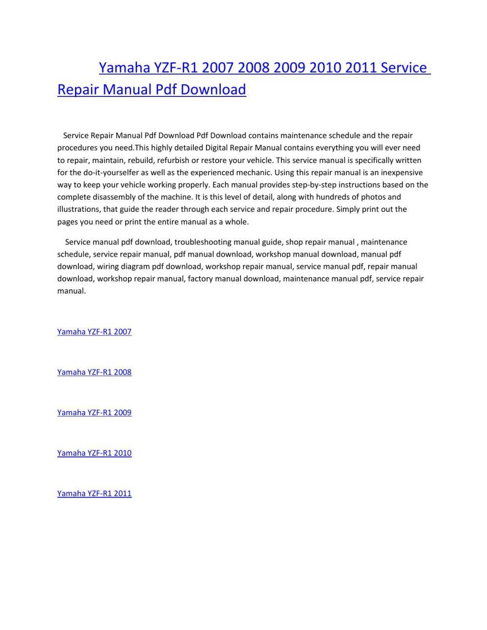 medium resolution of yamaha yzf r1 2007 2008 2009 2010 2011 service repair manual pdf download