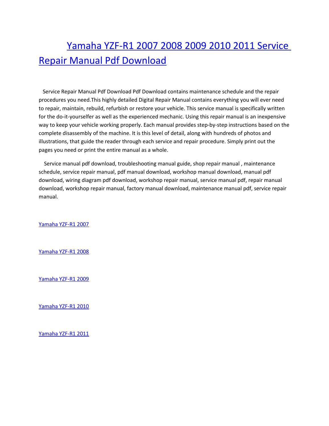 hight resolution of yamaha yzf r1 2007 2008 2009 2010 2011 service repair manual pdf download