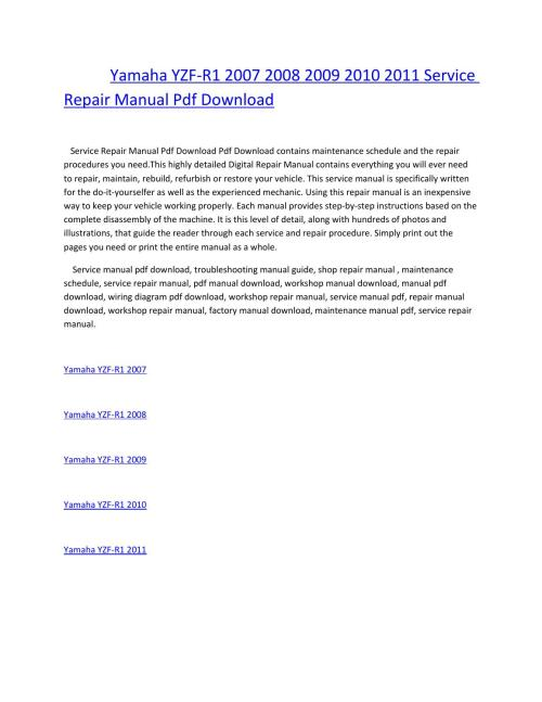 small resolution of yamaha yzf r1 2007 2008 2009 2010 2011 service repair manual pdf download