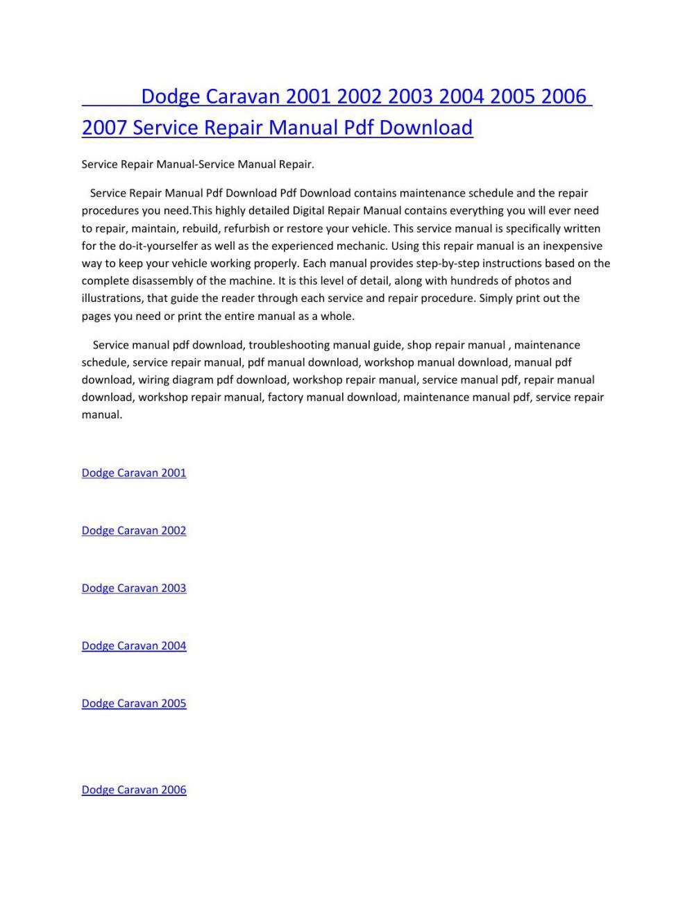 medium resolution of dodge caravan 2001 2002 2003 2004 2005 2006 2007 service manual repair pdf download