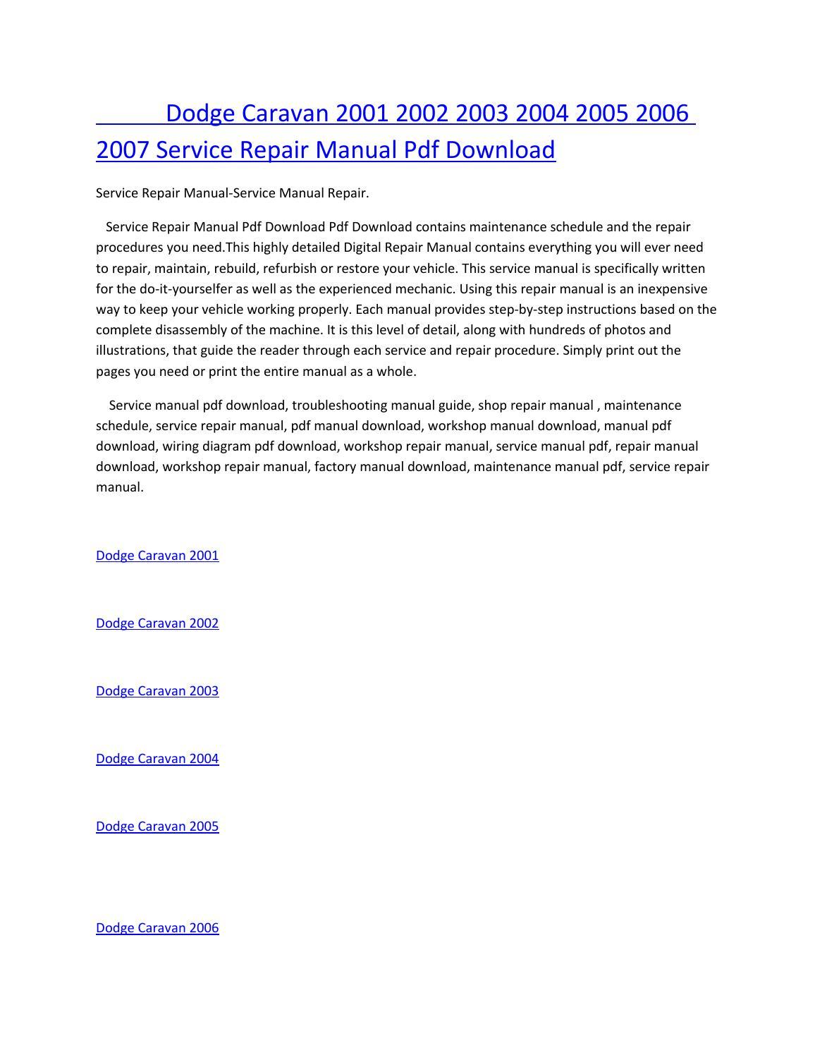 hight resolution of dodge caravan 2001 2002 2003 2004 2005 2006 2007 service manual repair pdf download