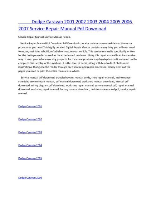 small resolution of dodge caravan 2001 2002 2003 2004 2005 2006 2007 service manual repair pdf download