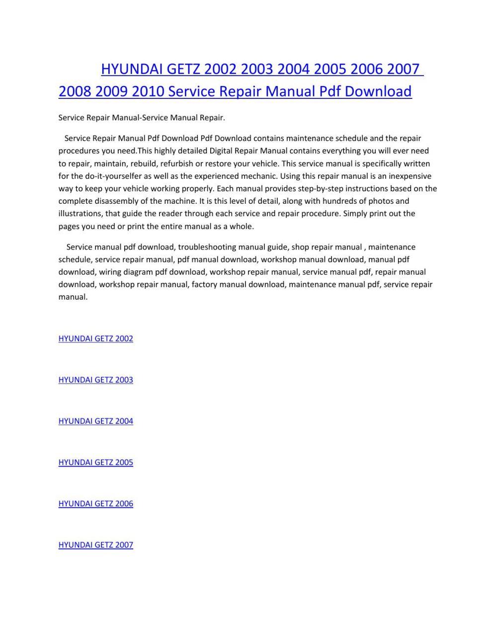 medium resolution of hyundai getz 2002 2003 2004 2005 2006 2007 2008 2009 2010 service manual repair pdf download