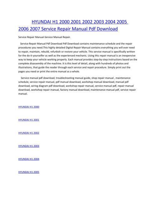 small resolution of hyundai h1 wiring diagram wiring libraryhyundai h1 2000 2001 2002 2003 2004 2005 2006 2007 service