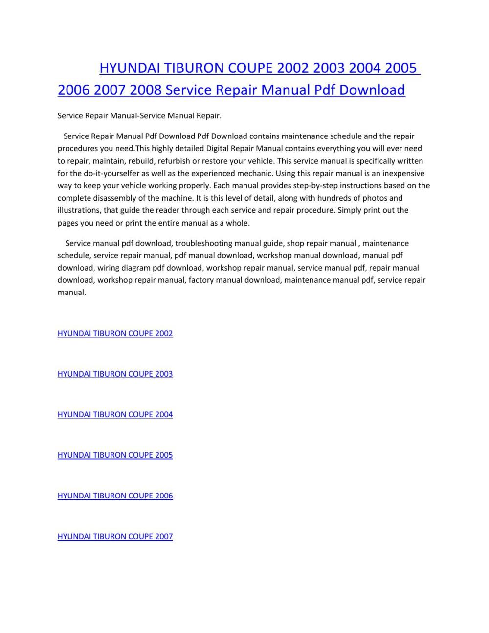 medium resolution of hyundai tiburon coupe 2002 2003 2004 2005 2006 2007 2008 service manual repair pdf download