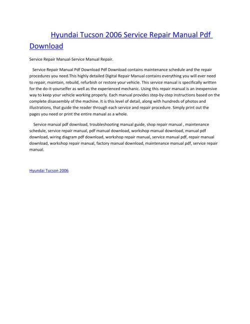 small resolution of hyundai tucson 2006 service manual repair pdf download by amurgului issuu