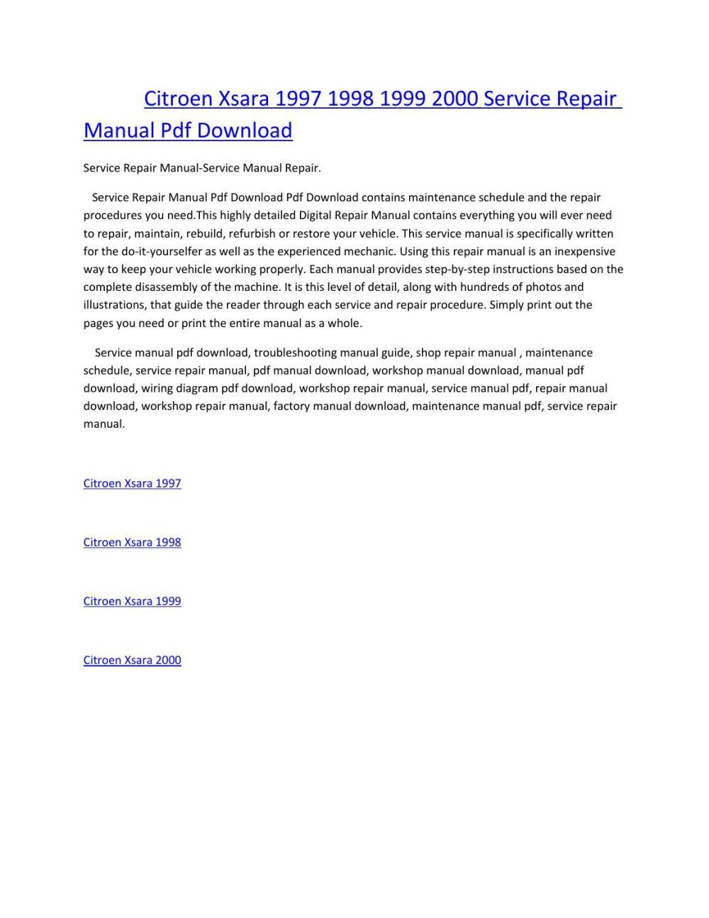 medium resolution of citroen xsara 1997 1998 1999 2000 service manual repair pdf download by amurgului issuu