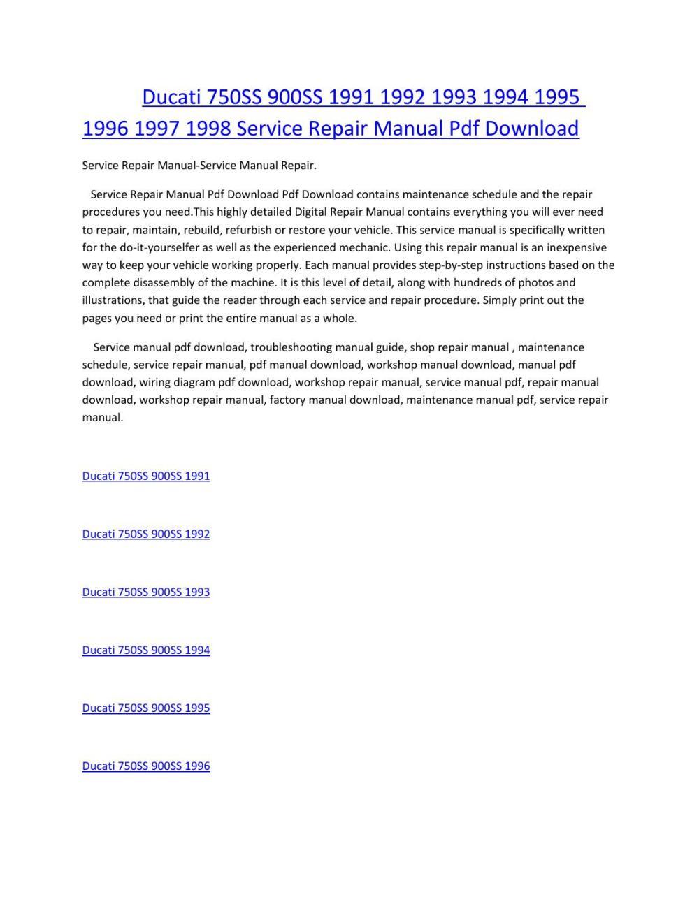medium resolution of ducati 750ss 900ss 1991 1992 1993 1994 1995 1996 1997 1998 service manual repair pdf download