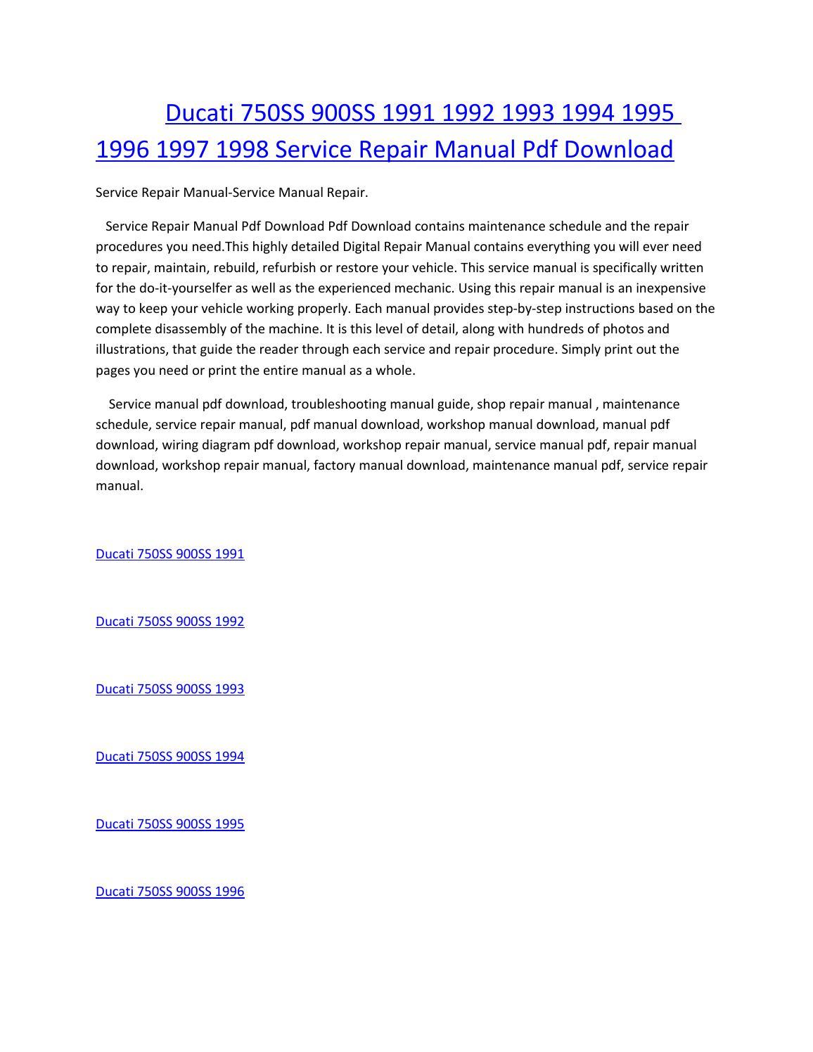 hight resolution of ducati 750ss 900ss 1991 1992 1993 1994 1995 1996 1997 1998 service manual repair pdf download
